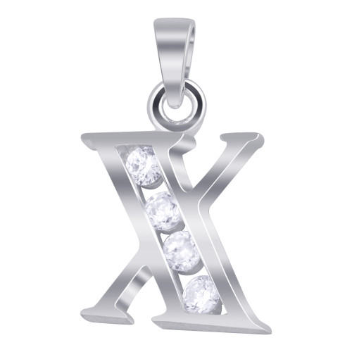 925 Sterling Silver Cubic Zirconia Initial X Pendant