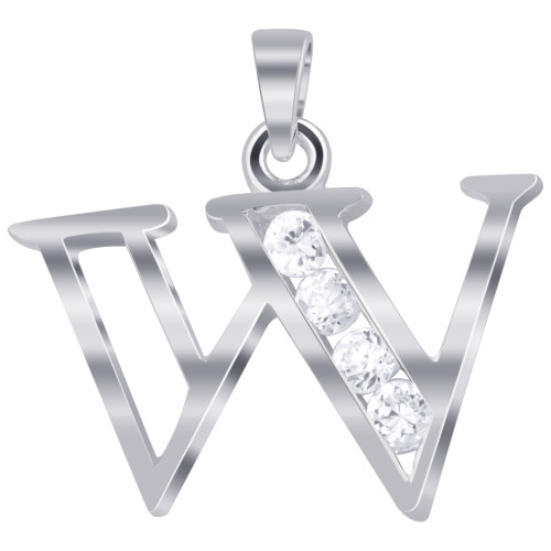 925 Sterling Silver Cubic Zirconia Initial W Pendant