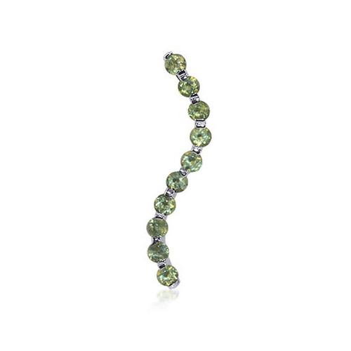 Round Peridot in Wavy Shaped Rhodium Plated 925 Sterling Silver Pendant