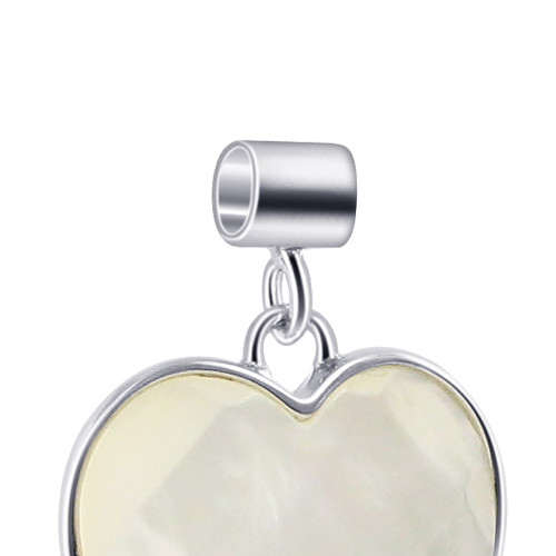 White Mother of Pearl Heart Sterling Silver Pendant