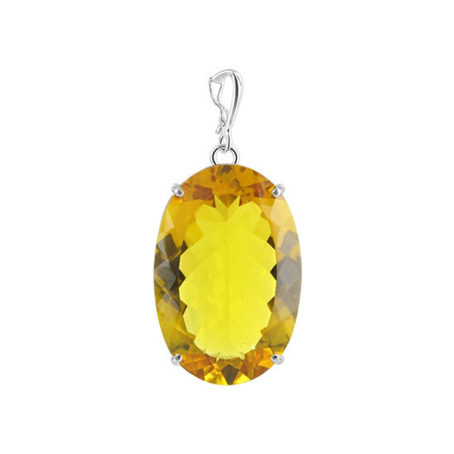 Bail Big Oval Simulated Citrine 1.2 x 1.8 inch Sterling Silver Pendant