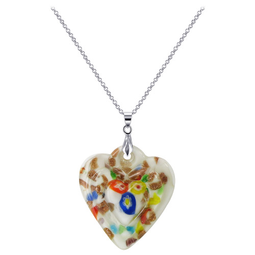 1.8 x 1.5 inch White Color Floral Designed 5mm Thick Heart Stainless Steel Bail Pendant