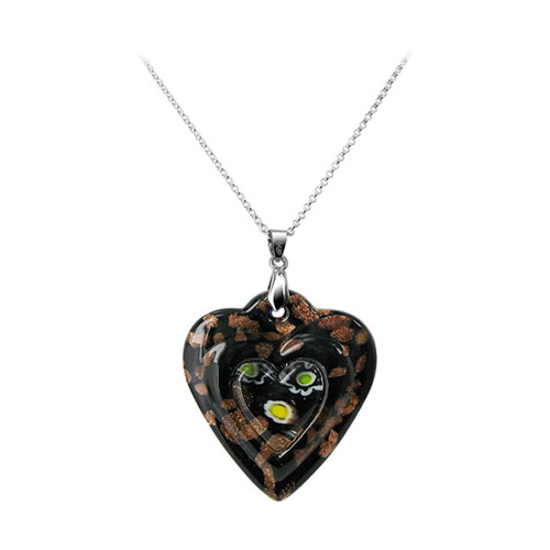 1.8 x 1.5 inch Black Color Designed 5mm Thick Heart Glass Stainless Steel Bail Pendant