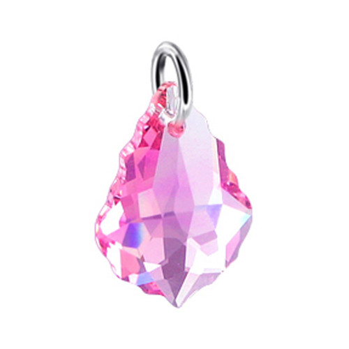 Baroque Shape Light Rose Swarovski Elements Crystal Sterling Silver Charm Pendant