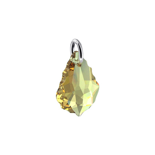 Baroque Shape Yellow Swarovski Elements Crystal Sterling Silver Charm Pendant