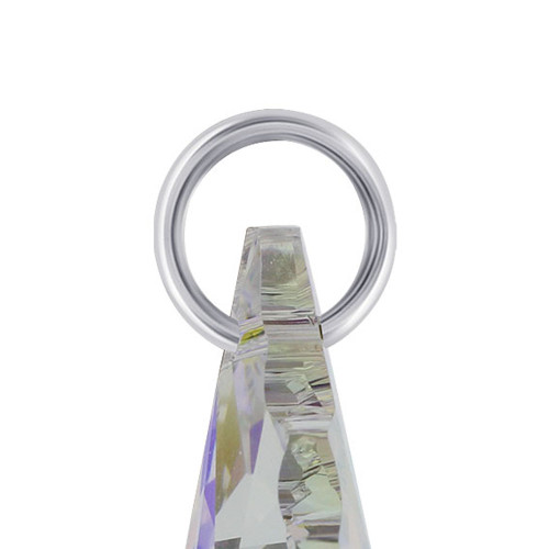 Clear AB Crystal Sterling Silver Charm Pendant