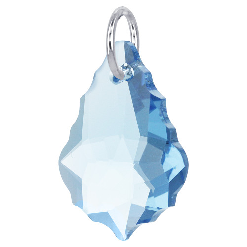 Baroque Shape Made with Swarovski Elements Blue Crystal Sterling Silver Pendant