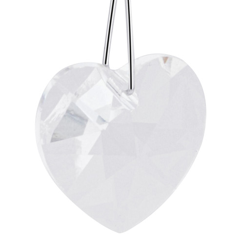 Heart Shape Clear Crystal  Sterling Silver Charm Pendant