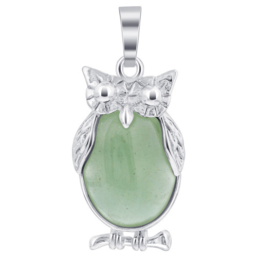 Amazonite Gemstone Owl Pendant