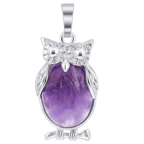 Amethyst Gemstone Pendant Cabachon making Serious Looking Owl