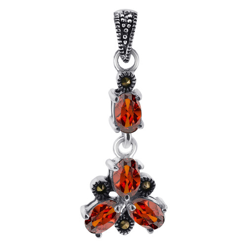 Oval Red CZ Cubic Zirconia Flower Sterling Silver Pendant with Marcasite Accents