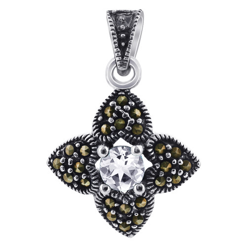 Clear CZ Cubic Zirconia Sterling Silver Pendant with Marcasite Flower Accents