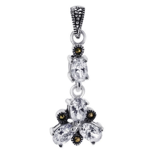 Oval Clear CZ Cubic Zirconia Flower Sterling Silver Pendant with Marcasite Accents