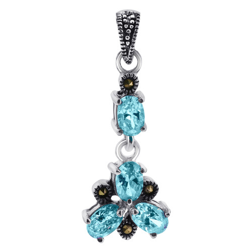 Oval Aqua Color CZ Cubic Zirconia Flower Sterling Silver Pendant with Marcasite Accents