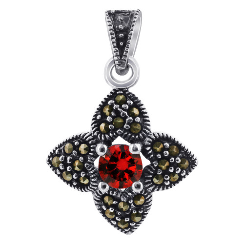 Garnet Color CZ Cubic Zirconia Sterling Silver Pendant with Marcasite Flower Accents