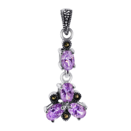 Oval Amethyst Color CZ Cubic Zirconia Flower Sterling Silver Pendant with Marcasite Accents