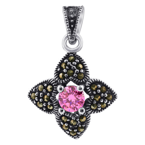 Pink ice CZ Cubic Zirconia Sterling Silver Pendant with Marcasite Flower Accents