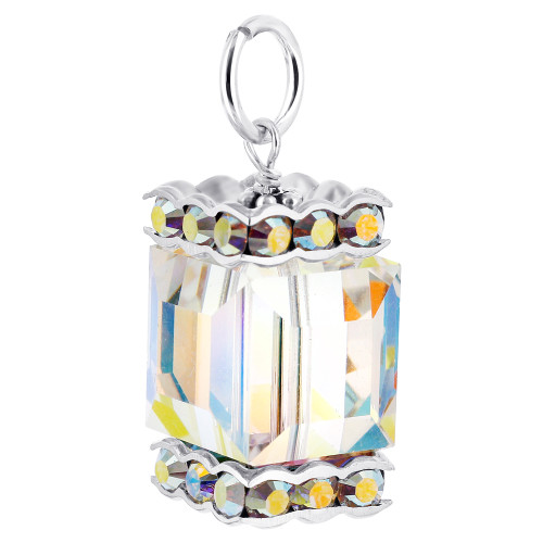 12 x 16mm Cube Swarovski Elements Clear AB Crystal Sterling Silver Charm Pendant