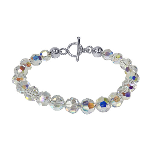 Cluster Style Swarovski Elements Clear AB Crystal 7.5 inch Sterling Silver Toggle Clasp Bracelet