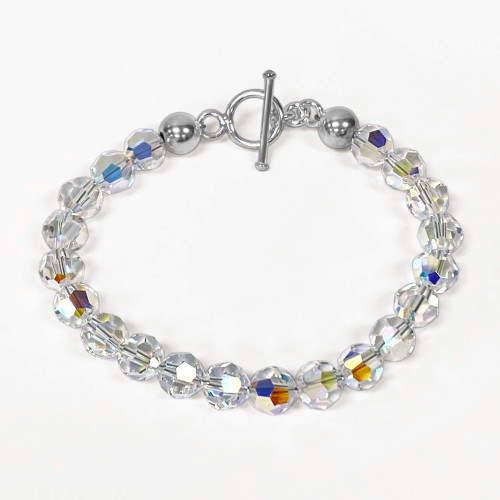 Clear AB Crystal 7.5 inch 925 Silver Toggle Clasp Bracelet