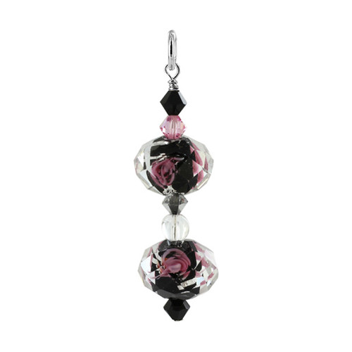Black Blown Glass and Swarovski Elements Crystal Sterling Silver 1.4 inch long Pendant