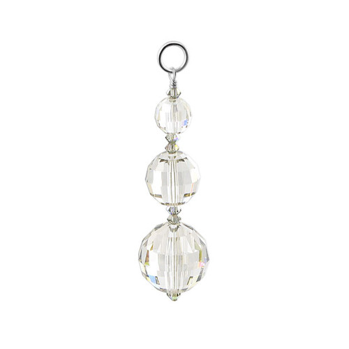 925 Silver Multifaceted Swarovski Clear Crystal Charm Pendant