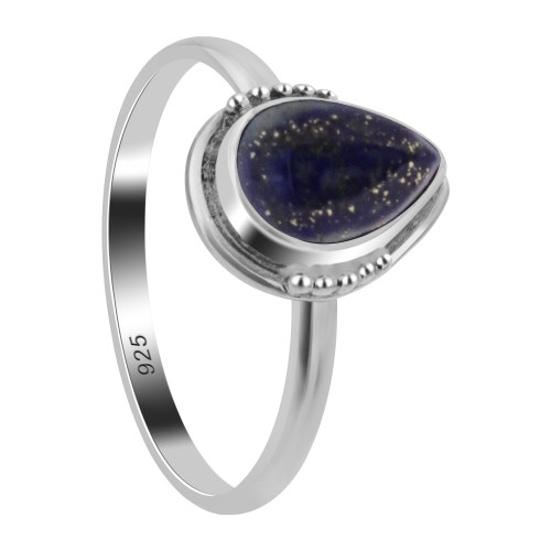 Pear Shape Genuine Lapis Lazuli Gemstone Sterling Silver Ring