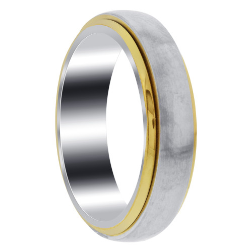 Two Tone Unisex 6mm Band with Gold IP Stainless Steel Spinning Ring