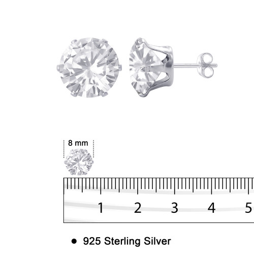 Clear Cubic Zirconia CZ Stud Earrings