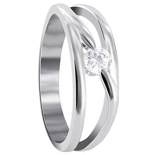 Polished Finish 925 Silver Round Cubic Zirconia Ring