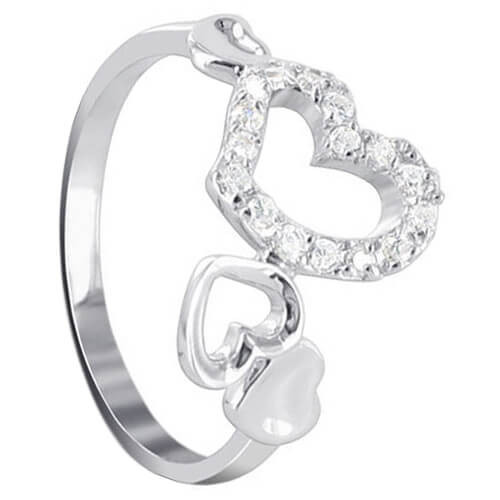 925 Sterling Silver Multi Open Heart Clear CZ Accent Ring