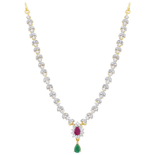 Gold Plated Simulated Teardrop Ruby and Emerald Stone Necklace Earrings Set