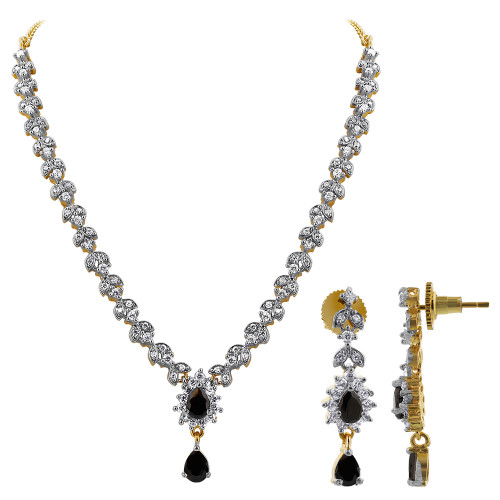 Gold plated Simulated Black with CZ accents Necklace Earrings Set