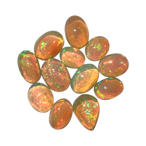 A+ Quality 25 CT Lot Ethiopian Opal Gemstone Cabochons Free Size Lots of Fire