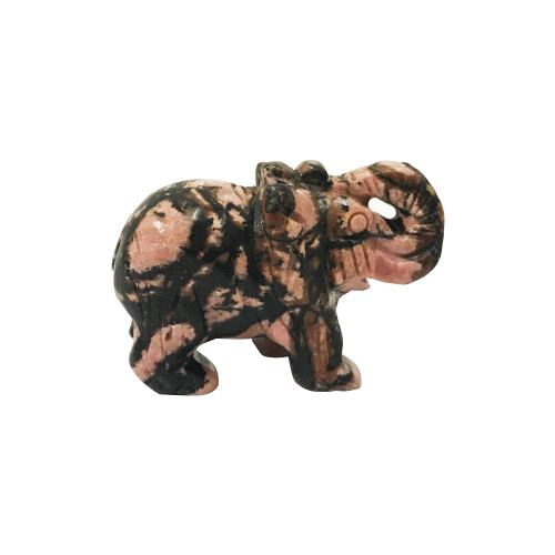 Beautiful Hand Carved Elephant Rhodonite Crystal Gemstone Sculpture Figurine