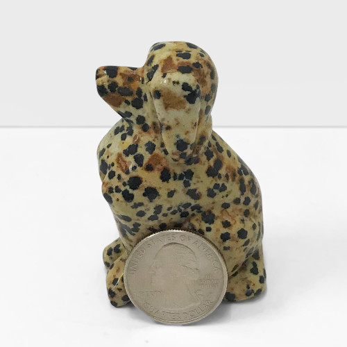 Hand Carved Dog Dalmatian Jasper Crystal Gemstone