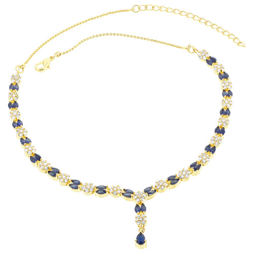 Gold Plated Blue Simulated Sapphire Stone Necklace Earrings Set