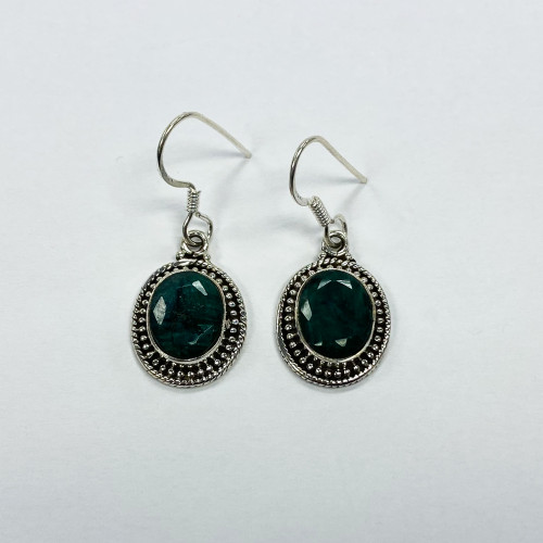 925 Sterling Silver Raw Natural Emerald May Birthstone Bezel Set Oval Dangle Earrings