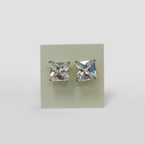 10mm CZ Square 925 Sterling Silver Rhodium Plated Stud Earrings