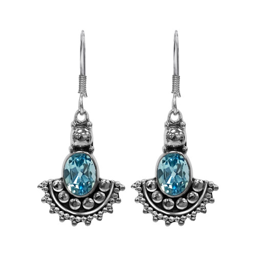 925 Sterling Silver Bezel Set Genuine Blue Topaz Bali Style Dangle Earrings with French Hook