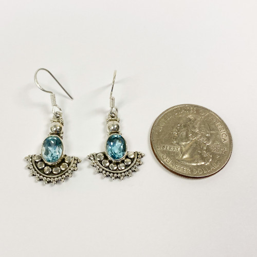 Sterling Silver Blue Topaz Dangle Earrings