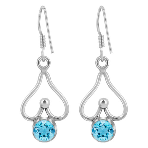925 Sterling Silver Genuine Blue Topaz 5mm Bazel Set Dangle Earrings