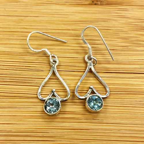 Sterling Silver Topaz Dangle Earrings