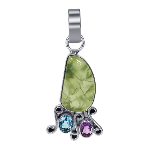 925 Sterling Silver Genuine Prehnite Stone with Amethyst and Blue Topaz Pendant