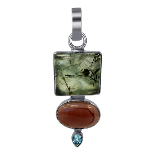 925 Sterling Silver Prehnite Stone and Blue Topaz Pendant