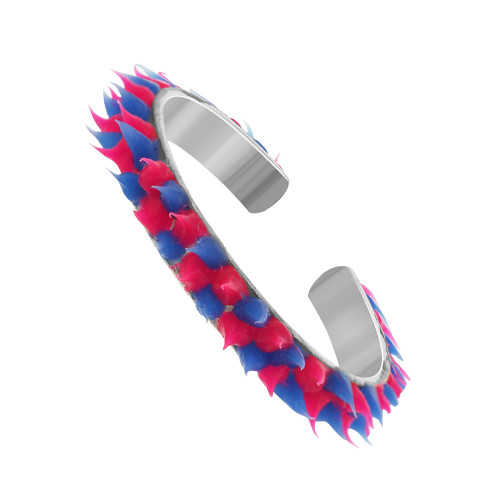 Sterling Silver Pink and Blue Rubber Toe Ring
