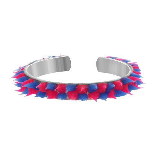 925 Sterling Silver Hot Pink and Blue Rubber Toe Ring
