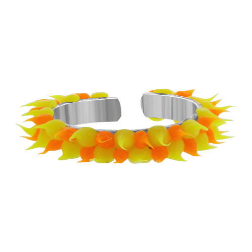 925 Sterling Silver Orange and Yellow Rubber Toe Ring