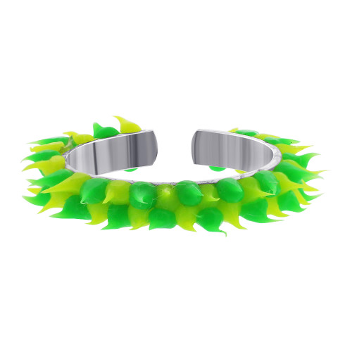 925 Sterling Silver Green and Lime Green Rubber Toe Ring