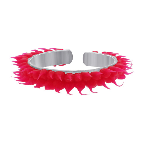 925 Sterling Silver 2mm Fun Hot Pink Rubber Toe Ring